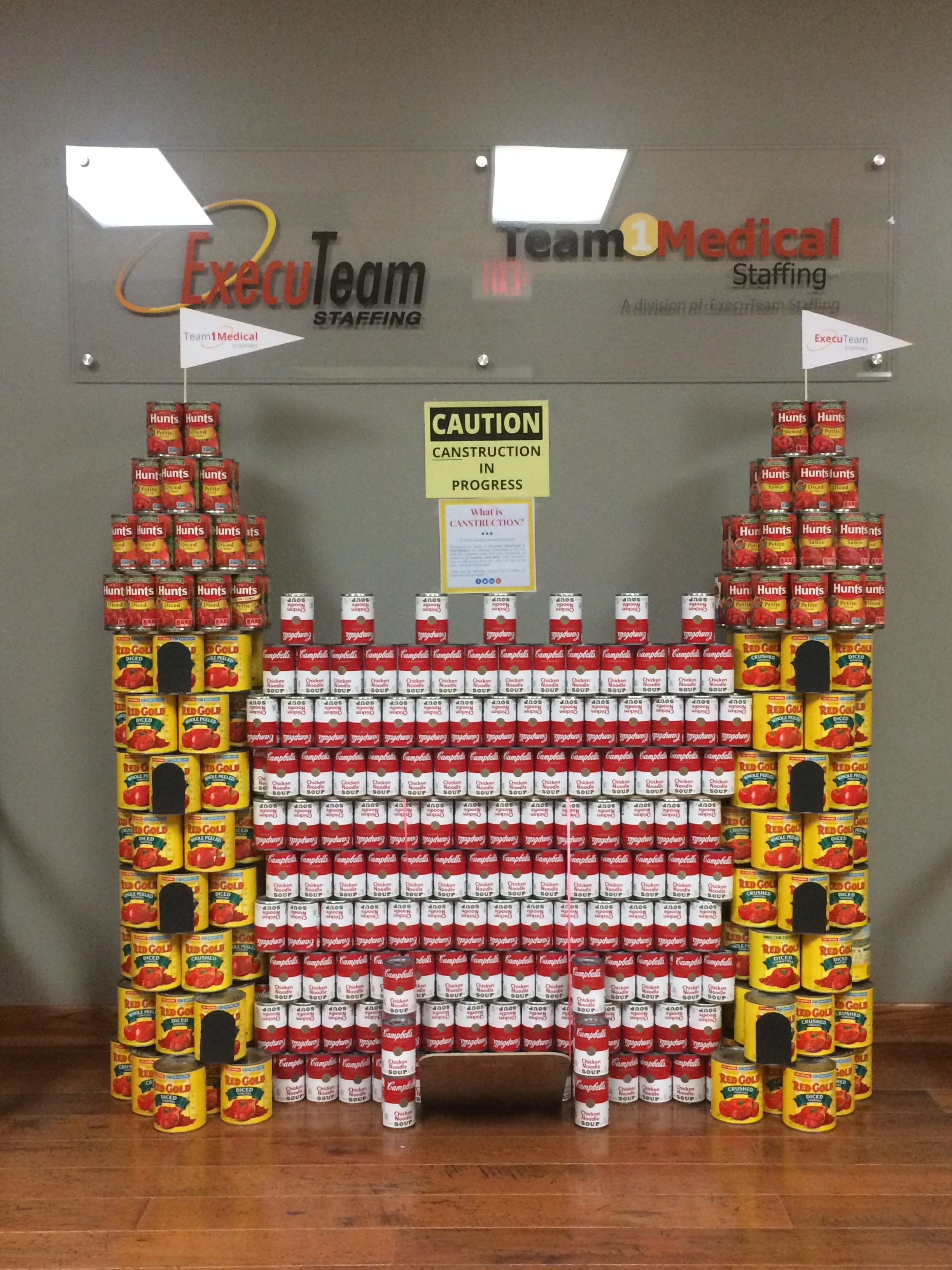 Our castle canstruction in our lobby!